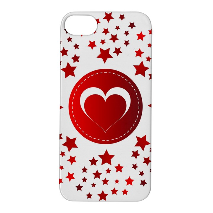 Monogram Heart Pattern Love Red Apple iPhone 5S/ SE Hardshell Case