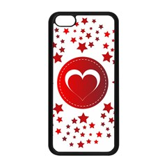 Monogram Heart Pattern Love Red Apple Iphone 5c Seamless Case (black)