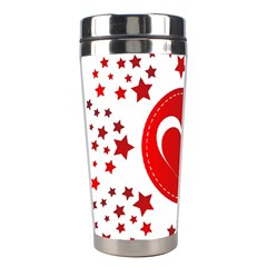 Monogram Heart Pattern Love Red Stainless Steel Travel Tumblers
