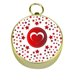 Monogram Heart Pattern Love Red Gold Compasses