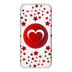 Monogram Heart Pattern Love Red Apple Iphone 5c Hardshell Case
