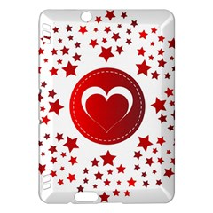 Monogram Heart Pattern Love Red Kindle Fire Hdx Hardshell Case