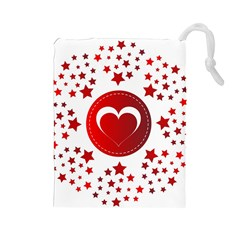 Monogram Heart Pattern Love Red Drawstring Pouches (large)