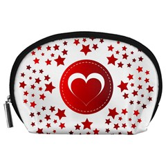 Monogram Heart Pattern Love Red Accessory Pouches (large)