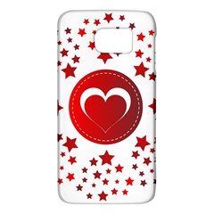 Monogram Heart Pattern Love Red Galaxy S6