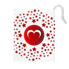 Monogram Heart Pattern Love Red Drawstring Pouches (extra Large)