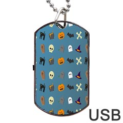 Halloween Cats Pumpkin Pattern Bat Dog Tag Usb Flash (two Sides)