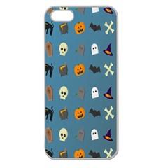 Halloween Cats Pumpkin Pattern Bat Apple Seamless Iphone 5 Case (clear)