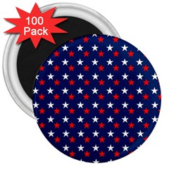 Patriotic Red White Blue Stars Blue Background 3  Magnets (100 Pack)
