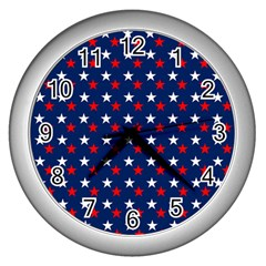Patriotic Red White Blue Stars Blue Background Wall Clocks (silver)