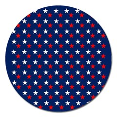 Patriotic Red White Blue Stars Blue Background Magnet 5  (round)