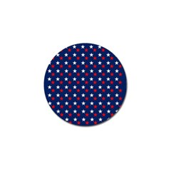Patriotic Red White Blue Stars Blue Background Golf Ball Marker (4 Pack)