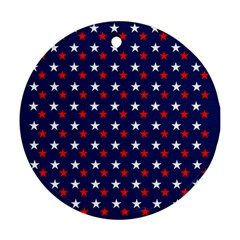 Patriotic Red White Blue Stars Blue Background Round Ornament (two Sides)