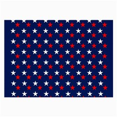Patriotic Red White Blue Stars Blue Background Large Glasses Cloth