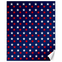 Patriotic Red White Blue Stars Blue Background Canvas 11  X 14