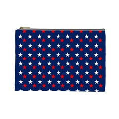 Patriotic Red White Blue Stars Blue Background Cosmetic Bag (large)