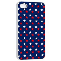 Patriotic Red White Blue Stars Blue Background Apple Iphone 4/4s Seamless Case (white)