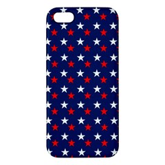Patriotic Red White Blue Stars Blue Background Apple Iphone 5 Premium Hardshell Case