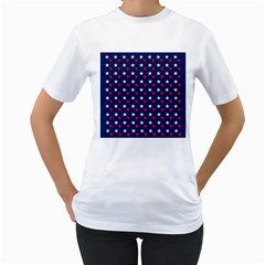 Patriotic Red White Blue Stars Blue Background Women s T Shirt (white)