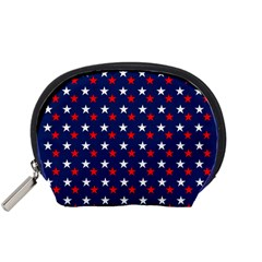 Patriotic Red White Blue Stars Blue Background Accessory Pouches (small)