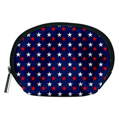 Patriotic Red White Blue Stars Blue Background Accessory Pouches (medium)