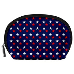 Patriotic Red White Blue Stars Blue Background Accessory Pouches (large)