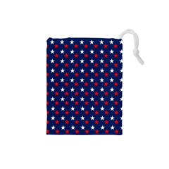 Patriotic Red White Blue Stars Blue Background Drawstring Pouches (small)