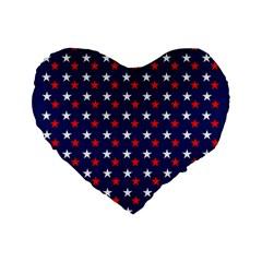 Patriotic Red White Blue Stars Blue Background Standard 16  Premium Flano Heart Shape Cushions