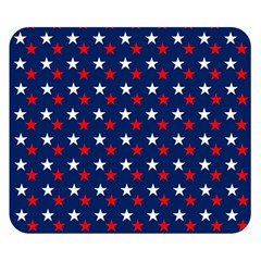 Patriotic Red White Blue Stars Blue Background Double Sided Flano Blanket (small)