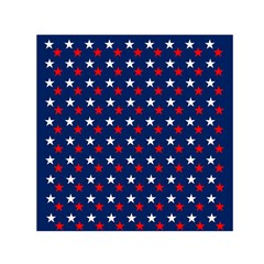 Patriotic Red White Blue Stars Blue Background Small Satin Scarf (square)
