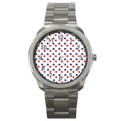 Patriotic Red White Blue Stars Usa Sport Metal Watch