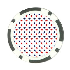 Patriotic Red White Blue Stars Usa Poker Chip Card Guard