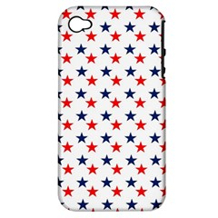 Patriotic Red White Blue Stars Usa Apple Iphone 4/4s Hardshell Case (pc+silicone)