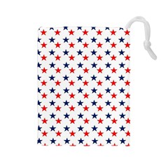Patriotic Red White Blue Stars Usa Drawstring Pouches (large)