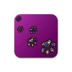 Footprints Paw Animal Track Foot Rubber Coaster (square)