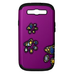 Footprints Paw Animal Track Foot Samsung Galaxy S Iii Hardshell Case (pc+silicone)