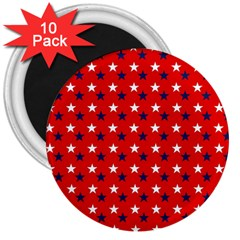 Patriotic Red White Blue Usa 3  Magnets (10 Pack)