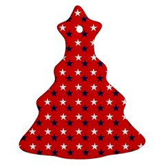 Patriotic Red White Blue Usa Christmas Tree Ornament (two Sides)
