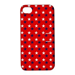 Patriotic Red White Blue Usa Apple Iphone 4/4s Hardshell Case With Stand