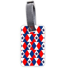 Patriotic Red White Blue 3d Stars Luggage Tags (two Sides)