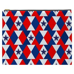 Patriotic Red White Blue 3d Stars Cosmetic Bag (xxxl)