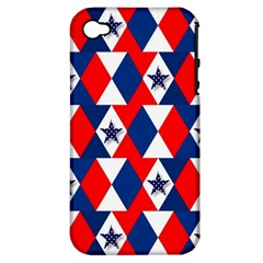 Patriotic Red White Blue 3d Stars Apple Iphone 4/4s Hardshell Case (pc+silicone)