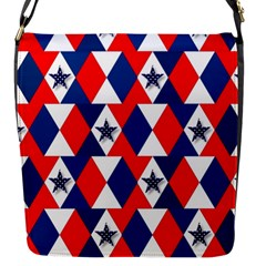 Patriotic Red White Blue 3d Stars Flap Messenger Bag (s)