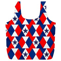 Patriotic Red White Blue 3d Stars Full Print Recycle Bags (l)