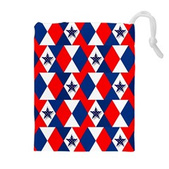 Patriotic Red White Blue 3d Stars Drawstring Pouches (extra Large)