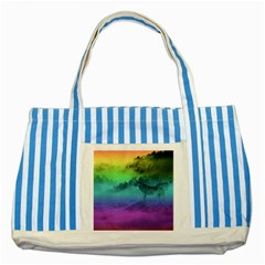 Yellowstone Wolfs Sunset Striped Blue Tote Bag