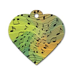 Music Notes Dog Tag Heart (one Side)