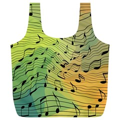 Music Notes Full Print Recycle Bags (l)