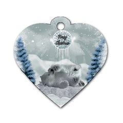Cute Polar Bear Baby, Merry Christmas Dog Tag Heart (one Side)