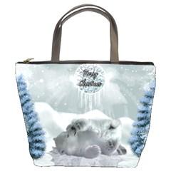 Cute Polar Bear Baby, Merry Christmas Bucket Bags